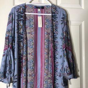 Francesca's blue rain cardigan
